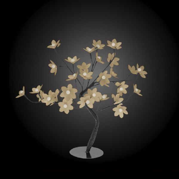 Árbol con flores  32 led color blanco cálido 45 cm