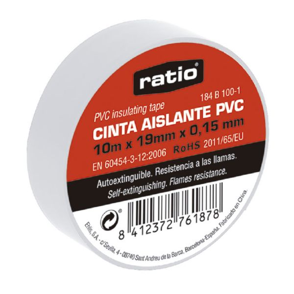 Cinta aislante 19x10 m,  0,15mm color blanca