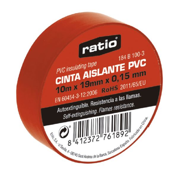 Cinta aislante 19x10 m,  0,15mm color roja