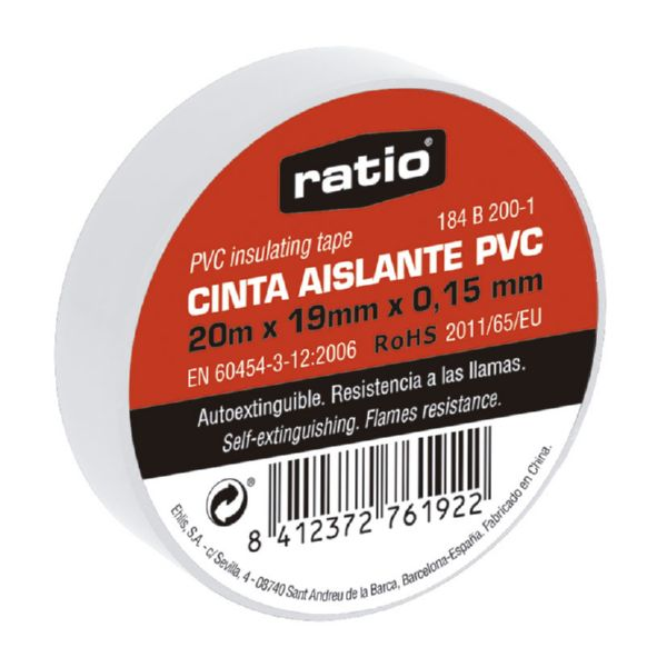 Cinta aislante 19x20 m,  0,15mm color blanca