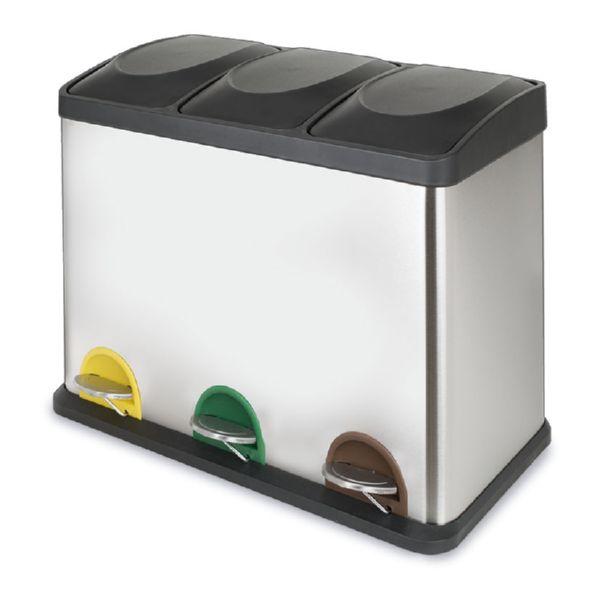 Cubo pedal cromado ecológico triple