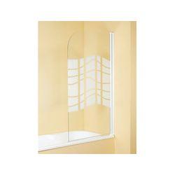 Mampara baño 76x130 cm. blanca 1 hoja. Cristal serigrafiado